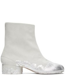 Off-White & Silver Suede Painted Low Heel Tabi Boots