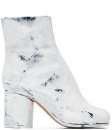 Black & White Painted Tabi Heel Boots