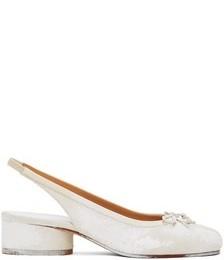 White Painted Tabi Slingback Heels