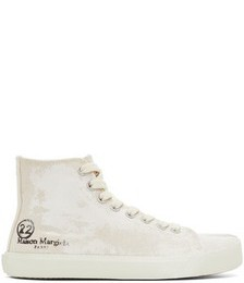 Off-White Linen Painted Tabi High-Top Sneaker