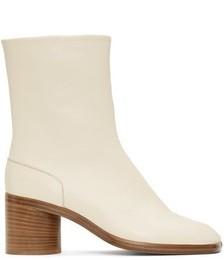 White Mid Heel Tabi Boots