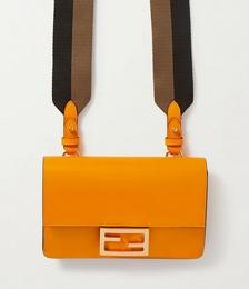 Flat Baguette Medium Leather Shoulder Bag