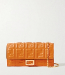 Baguette Embossed Leather Clutch