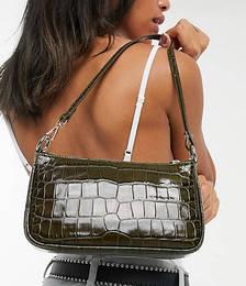 Croc Leather Baguette Handbag in Khaki