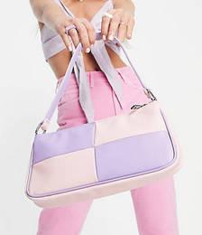 Slim 90s Shoulder Bag in Pastel Lilac & Pink Patchwork