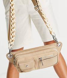 Vegan Brillay Multi Pocket Shoulder Bag with Resin Strap Detail in Beige