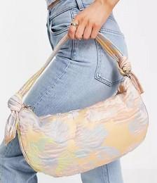 Vegan Moon Shoulder Bag with Knot Handle Detail in Pastel Floral