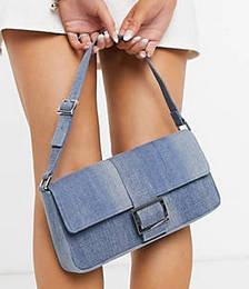 Reya Denim Shoulder Bag in Blue