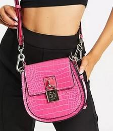 Bamalia Padlock Cross-body Bag in Pink Croc