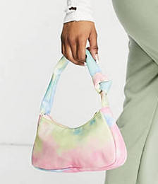 Exclusive Shoulder Bag with Twist Knot Strap Detail in Nylon Tie-dye
