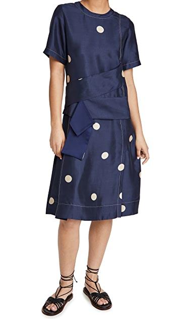 Dot Print Cross Strapped Dress