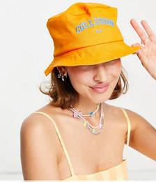Embroidered Bucket Hat in Orange