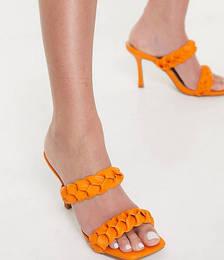 Gemma Plaited Heeled Mules in Orange