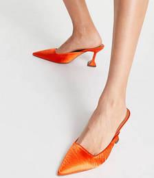 Sherlock Mid-heeled Mules in Orange