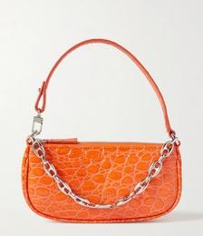 Rachel Mini Chain-embellished Croc-effect Leather Shoulder Bag