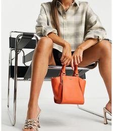 Leather Structured Tote Bag in Orange