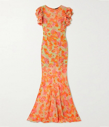 Bougainvilla Ruffled Floral-print Recycled Georgette Maxi Dress