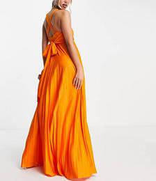 Plunge Halter Cross Back Self Tie Pleated Maxi Dress in Orange
