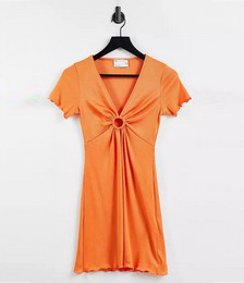 Ribbed Short Sleeve Mini Dress With Ring Detail in Orange