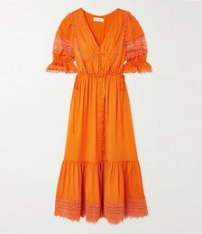 Lace-trimmed Satin-twill Midi Dress