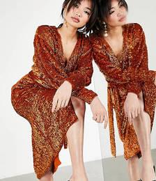 Sequin Wrap Midi Dress