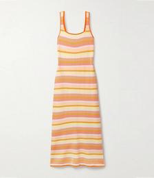 The Kimberly Striped Ribbed-knit Maxi Dress