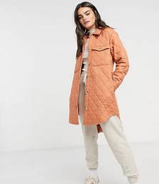 Quilted Longline Jacket in Orange