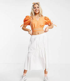 Puff Sleeve Cropped Blouse with Tie Details in Orange