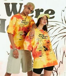 Unisex Oversized Orange Tie Dye T-shirt with Print in Pique Fabric