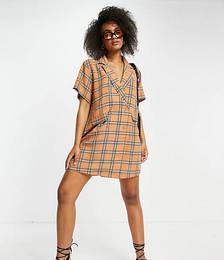 Double-breasted Blazer Dress in Orange Check