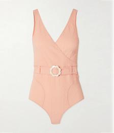 + NET SUSTAIN Yasmin Belted Wrap-effect Seersucker Swimsuit