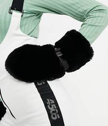 Faux Fur Ski Mittens in Black