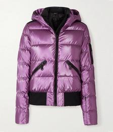 Aura Hooded Quilted Metallic Down Ski Jacket