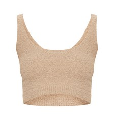 Taupe Chenille Scoop Neck Crop Top