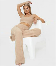 Taupe Chenille High Waist Pants