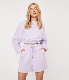 Elasticized Sweater And Longline Shorts Set