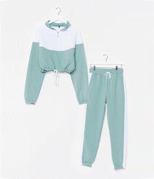 Two Tone Crop Sweatshirt And Tracksuit Pants Set