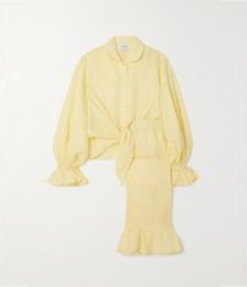 Rumba Ruffled Linen Shirt and Pants Set