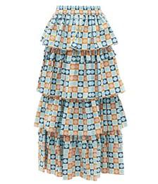 Dolce Diamond Dots-print Tiered Cotton Skirt