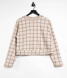 Check Sweater Co-ord in Ecru