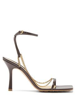 Stretch Chain-embellished Leather Sandals