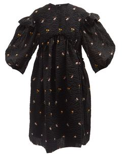 Floral-embroidered Puffed-sleeve Cloqué Dress