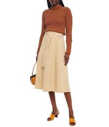 Belted Cotton-poplin Midi Skirt