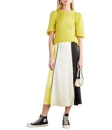 Jada Picot-trimmed Paneled Satin Midi Skirt