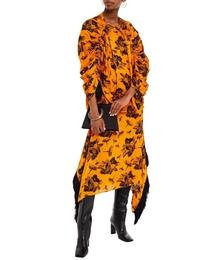 Asymmetric Fringed Floral-print Hammered-satin Midi Skirt