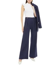 Roland Pinstriped Organic Cotton-twill Wide-leg Pants