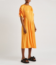 Davina Orange Satin Midi Dress