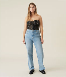 High-rise Straight Stretch Jeans