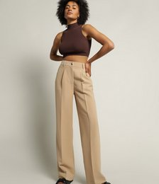 Claudia Longline Tailored Pant in Sand