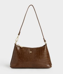 Danni Croc Shoulder Bag in Chocolate